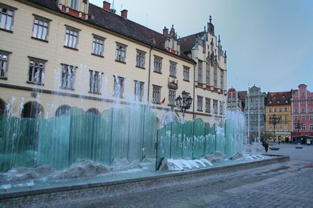 Fountain at the main square in Wroclaw, Poland Stock Photo