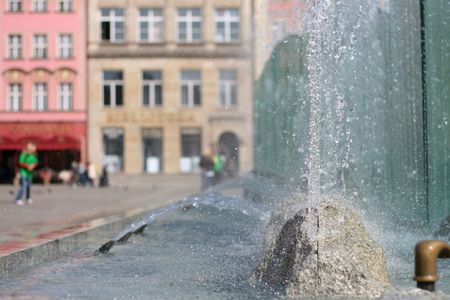 Fountain on the Wroclaw`s main square, spring photo