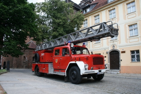 Fire brigade truck department wroclaw poland old