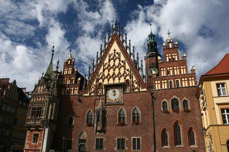 City hall in Wroclaw, Poland, landmark, old
