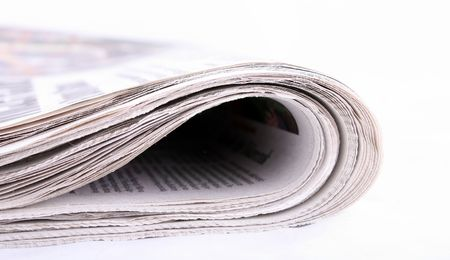 newspaper isolated on white background, news, reading Stock Photo - 3892470