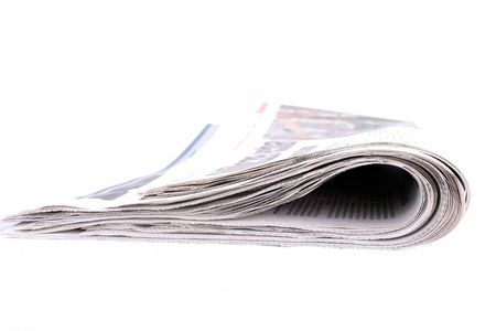 newspaper isolated on white background, news, reading Stock Photo