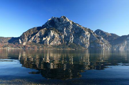 mountain landscape, lake and fog, mist, sun photo