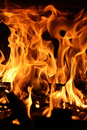 fire, flame, burning in the chimney, dangerous, power photo