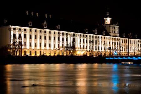 University of Wroclaw night shot, beauty, architecture photo