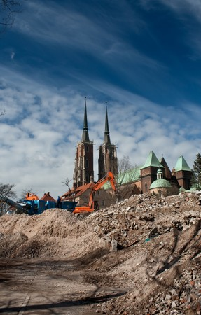 demolition yard in Wroclaw, Ostrow Tumski in background Stock Photo - 4514780