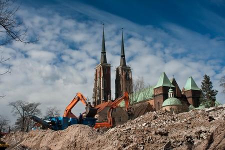 demolition yard in Wroclaw, Ostrow Tumski in background Stock Photo - 4514781