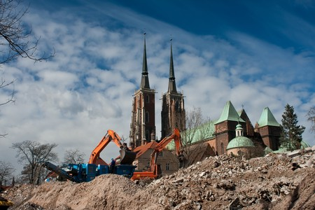 demolition yard in Wroclaw, Ostrow Tumski in background
