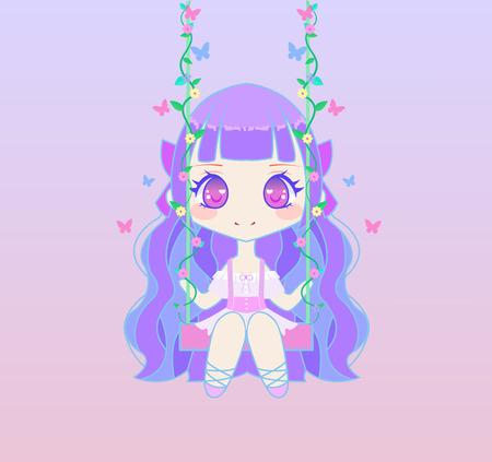 chibi: Cute chibi anime fairy girl sitting on swing