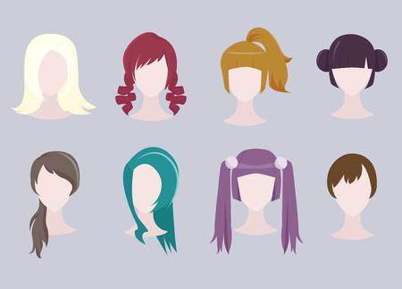 Set of different cartoon hairstyles