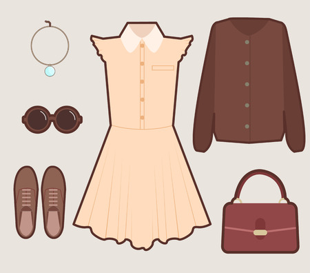 Vintage young girl dress look set