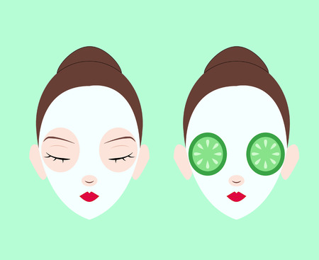 making face: Set of women face making mask Illustration