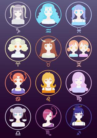 manga girl: Cute Girl Zodiac Horoscope Signs Set Illustration