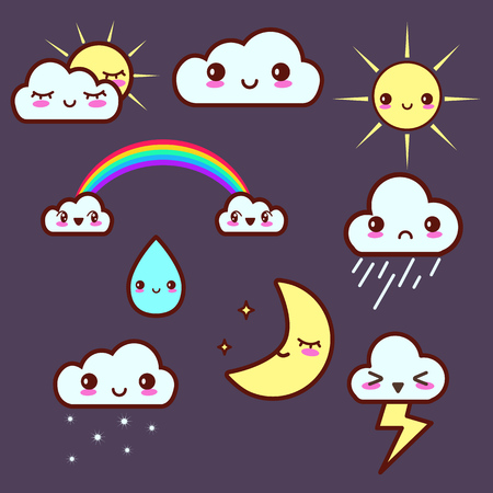 kawaii: Cute weather sticker set with kawaii emotions