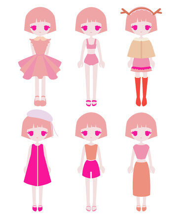 simple girl: Set of simple cute pink girl outfits