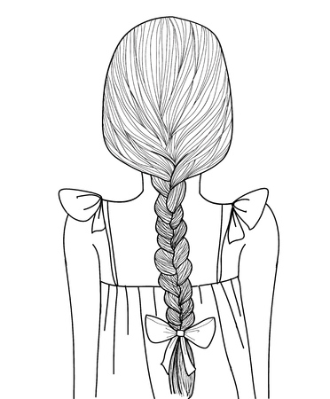 woman back of head: Sketch style black line cute girl braid hairstyle