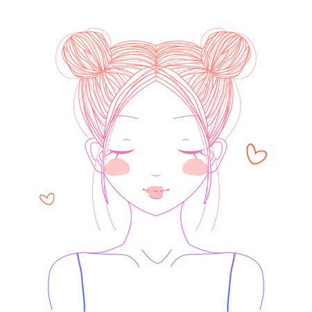 buns: Gradient cute girl with double buns smiling Illustration