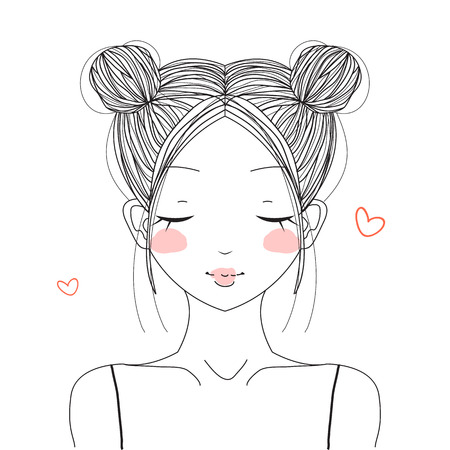 buns: Cute girl with double buns hairstyle smiling with hearts Illustration