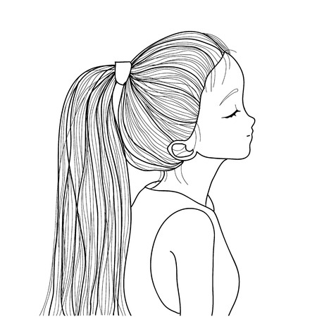 cute girl: style ponytail cute girl sketch