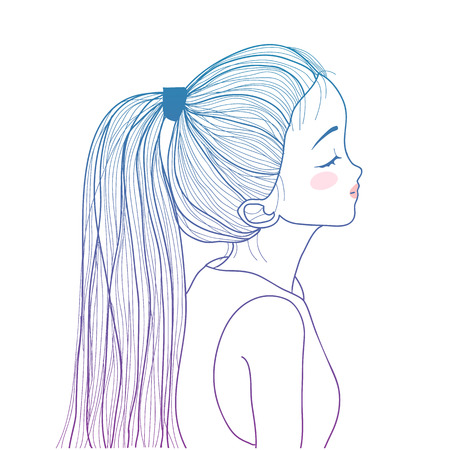 style gradient ponytail cute girl illustration