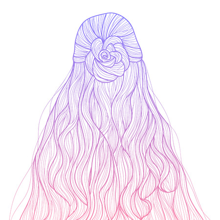 braid: Half-up curly hair with braid flower hairstyle Illustration
