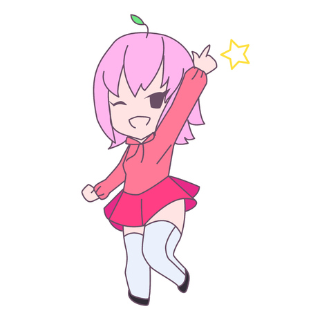 chibi: Cute pink anime chibi cheerful girl pointing and smiling Illustration