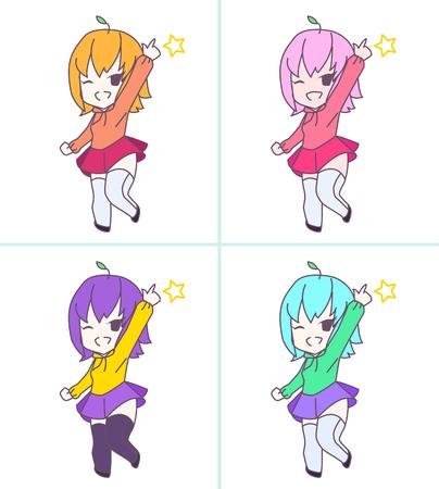 chibi: Cute pink anime chibi girl pointing 4 color set Illustration