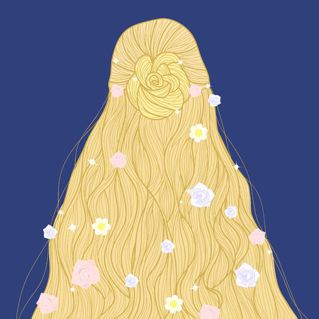fairy: Hand-drawn blonde fairy long beautiful hairstyle with flowers