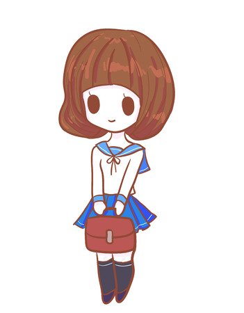 Cute hand drawn japanese uniform school girl with bag