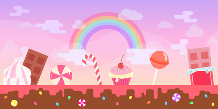 Flat pink fantasy candy game background illustration Illustration