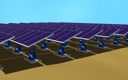 Illustration 3d of a set of solar panels on the ground