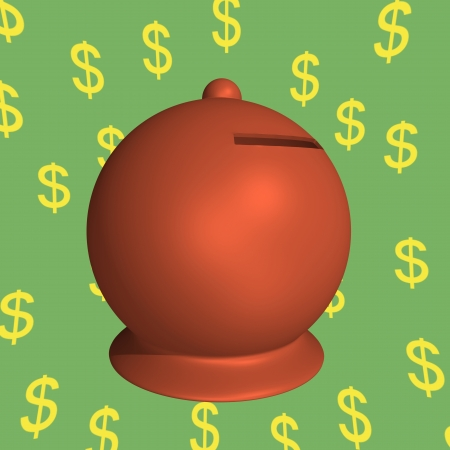 Moneybox on green background with dollar symbols Stock Photo