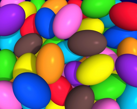 comfits: Illustration 3d of little eggs in various colors