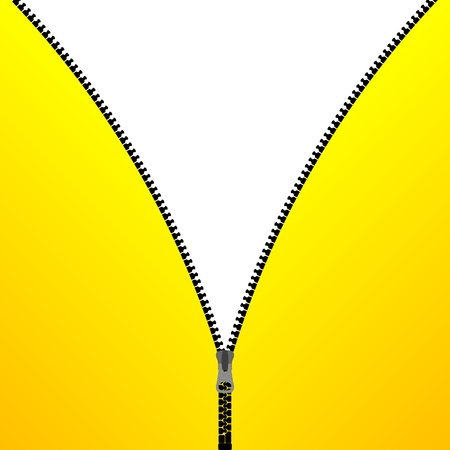 Yellow cloth with zipper open on a white background Illustration