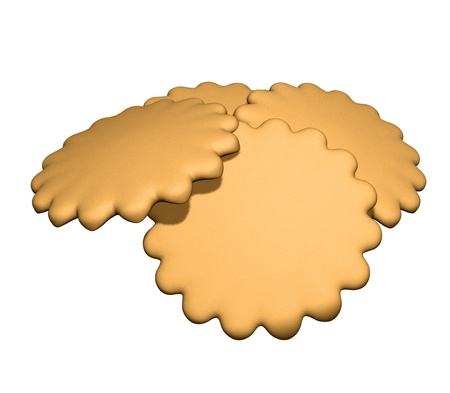 3d illustration of biscuits in form of flower