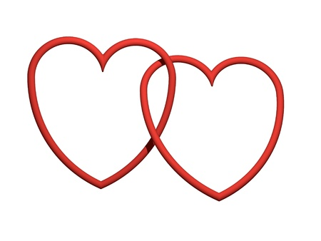 Two red hearts 3d intertwined