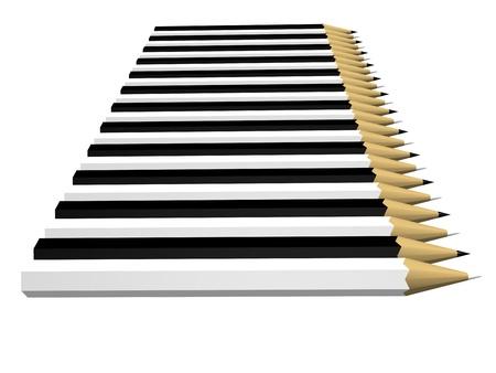 Row of twentyfour pencils black and white Stock Photo - 13812379