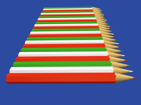 Row of pencils red, white and green on a starry sky photo