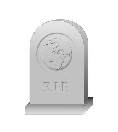 Terrestrial globe tombstone illustration Stock Photo