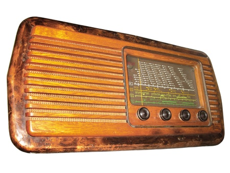 antiquary: Radio vintage with wooden structure Stock Photo