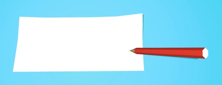 Red pencil that writes on a white note Stock Photo