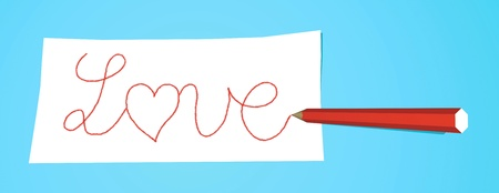 Red pencil that writes Love on a white note Stock Photo