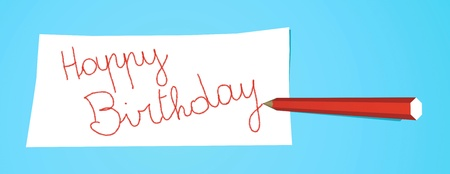 Red pencil that writes Happy Birthday on a white note Stock Photo