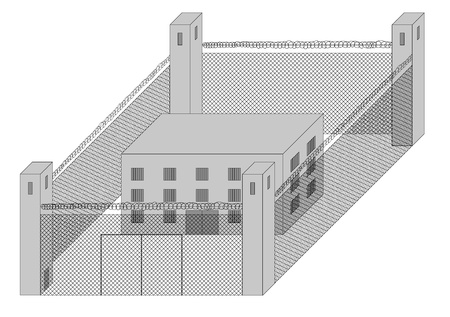 fenced: Fenced prison with guard towers