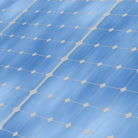 Close up of solar panels with reflection of the sky with clouds Stock Photo
