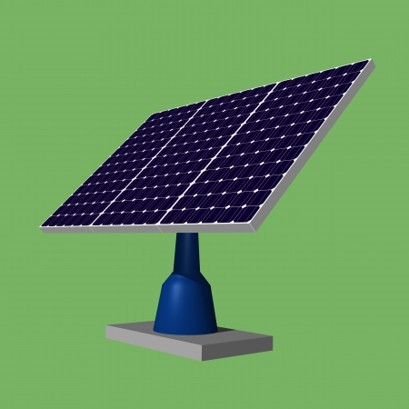 Illustration 3d of solar panels on green background