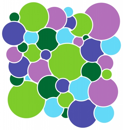 Colored circles with white border that overlap