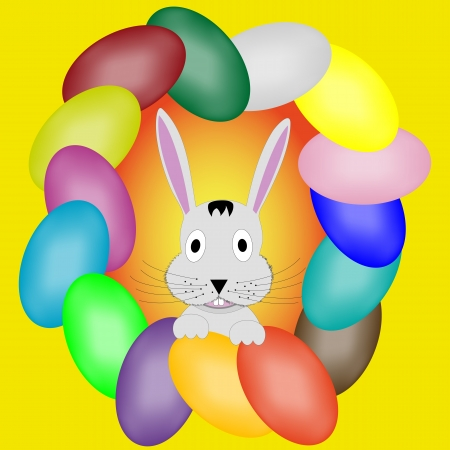 gluttonous: Rabbit that appears by a frame of colored eggs