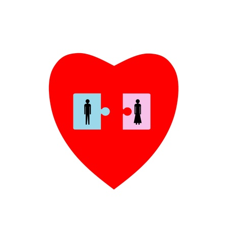Two puzzle pieces with man and woman in heart