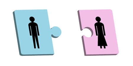 Two puzzle pieces with man and woman
